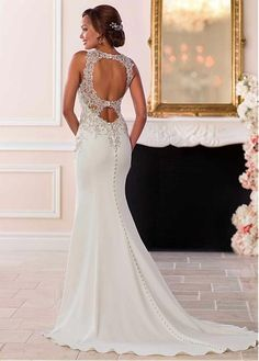 Buy discount Attractive Tulle & Satin Jewel Neckline Natural Waistline Mermaid Wedding Dress With Beaded Lace Appliques at Laurenbridal.com