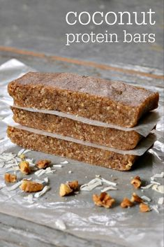 This coconut protein bar recipe is so delicious, and it's very easy to make. You just need 4 basic ingredients to put together this higher protein snack. All clean eating ingredients are used for these healthy protein bars. Pin now to make later! High Protein Snacks, Low Carb Protein Bars, Protein Bar Recipes, Healthy Bars, Healthy Sweets, Protein Foods, Snack Recipes, Homemade Protein Bars, Protein Cake