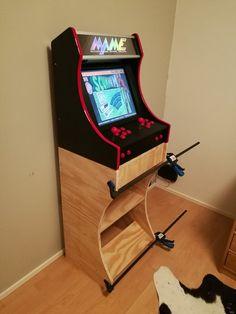 My Retropie Project: Arcade bartop stand in progress. Retropie Arcade, Retro Arcade Games, Mini Arcade, Bartop Arcade Plans, Arcade Cabinet Plans, Arcade Machine, Slot Machine, Retro Pi, Video Game Rooms