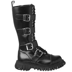 Black Leather 4-Buckle Boots. I love these boots.