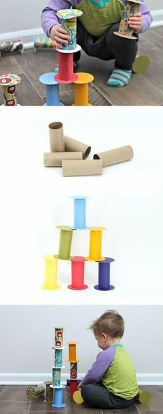 DIY Recycled Toilet Paper Roll Building Blocks - a quick easy free toy to keep you from going crazy inside this winter. Recycled toddler toys are the best! Toddler Fun, Toddler Toys, Diy Toys For Toddlers, Infant Activities, Activities For Kids, Winter Activities, Sensory Activities, Recycler Diy, Toilet Paper Roll Crafts