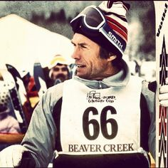 The man, the myth, the legend. Mr. Clint Eastwood partaking in the @beavercreekmtn 1982 Celebrity Cup. Check out those @volklskis. #throwbackthursday - @siasnowsports
