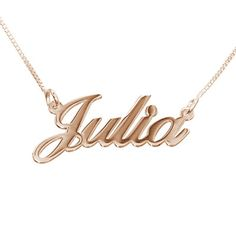 Show your name off with pride with our dainty yet classic <b>Small Name Necklace in 18k Rose Gold Plating</b>. You can get any name or word you want on this name necklace. Personalized necklaces are all the rage right now and everyone wants a necklace with name! Get a <a href=./category.aspx?p=354>nameplate necklace</a> for yourself or buy one as a gift to someone!<br> This name necklace is made out of <b>18k Rose Gold Plating over ...