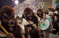 Grande Rio samba school members performs while parading during carnival celebrations at the Sambadrome in Rio de Janeiro on Tuesday, March 8, 2011.