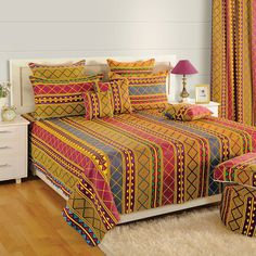 Buy Regal Red Double Bed Cotton Bed Sheet Online In India - Saavra African Interior Design, Designer Bed Sheets, Farmhouse Bedroom Decor, Cotton Bedding, Double Beds, Bed Design, Bed Spreads, Furniture, Household
