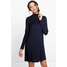 Boohoo Tall Tall Vera Long Sleeve Swing Dress ($20) ❤ liked on Polyvore featuring dresses, navy, bodycon midi dress, long sleeve maxi dress, navy blue dress, party dresses and blue bodycon dress