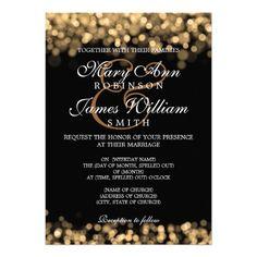 Elegant Wedding Gold Lights Custom Invitation #weddings