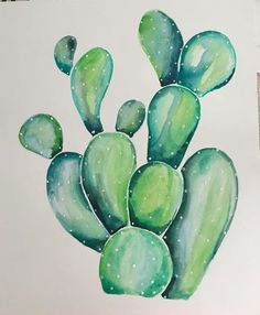 Watercolor Painting using one single brush Illustration of Succulents and Watercolor Painting using one single brush Illustration of Succulents and Cactus Drawing, Cactus Painting, Watercolor Cactus, Watercolor Succulents, Watercolour, Kaktus Illustration, Watercolor Paintings Nature, Desert Art, Cactus Flower