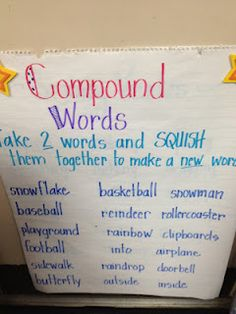 anchor chart for compound words- Michelle Oakes- Fabulous in First