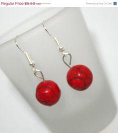 ON SALE Dangle EarringsCarved Red Soap Stone by SoJewelrySoYou, $4.95 #soapstone #earrings #redearrings #style #handmade