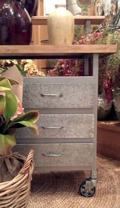 Galvanized metal and wood sideboard - Pottery Barn