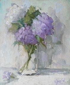 Hydrangeas by Carol Josefiak Oil ~ 11inches x 9 inches