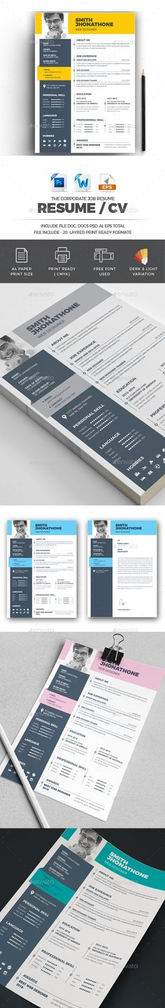 Resume Template PSD, Vector EPS, AI Illustrator, MS Word