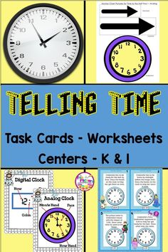 These Telling Time Task Card Activities For First Grade And For Kindergarten Are Great For Kids Learning To Tell Time To The Hour And Half Hour. The Printables Are Perfect For Kids In First Grade When You Are Teaching Telling Time With Analog Clocks. Telling Time Activities, Teaching Ideas, Reading Activities, The Fun Factory, Learn To Tell Time, Time To The Hour, First Grade Classroom, Kindergarten Classroom, Elementary Education
