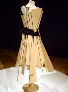 Wooden Yohji Yamamoto dress, triangle shapes resemble the pattern of mine.