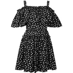 Dolce & Gabbana Short Pois Dress ($1,260) ❤ liked on Polyvore featuring dresses, black, short dresses, dolce gabbana dress and short length dresses