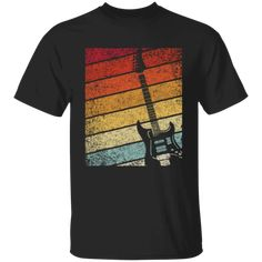 Guitar Bass Retro Music Vintage Men T-Shirt - Dark Chocolate Design T Shirt, Shirt Designs, Vintage Men, Retro, Buy Guitar, Custom T, Direct To Garment Printer, Cool Tees, Order Prints