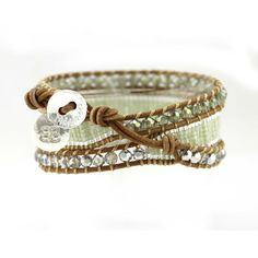 'Fiona Apple' Triple tan leather wrap bracelet entwined with rows of crystals and Japanese mijuki beads