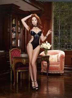 AIS Faux Leather-Look Microfiber Demi Cup Halter Teddy O/S   Sexy Lingerie   Lingerie. It features Faux leather-look microfiber demi cup halter teddy with chain harness and hip details, g-string back, adjustable back tie closures and neck collar with attached chain leash.