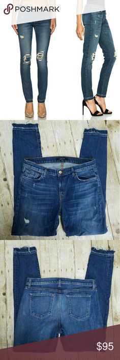 """J Brand Skinny Jeans Blue J Brand skinny ankle jeans with factory distress. Style is """"Ellis Villain"""". 98% cotton 2% elastane. Laying flat waist measures 16"""", front rise measures 9"""", and inseam measures 31"""". J Brand Jeans"""