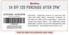 Pinned September 17th: $4 off $20 after 2pm at #BobEvans restaurants…