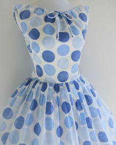 Betty Barclay 1950's polka dot print dress.