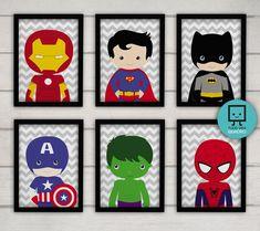 Kit de quadrinhos Heróis 6 un. Estampa em tecido no Superhero Boys Room, Superhero Wall Art, Baby Room Themes, Baby Room Decor, Baby Motiv, Classic Wallpaper, Kids Room Design, Boy Room, Kids Bedroom