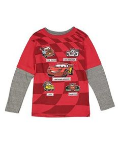 Red & Gray Cars Layered Tee - Toddler