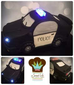 Police car cake with lights from A Sweet Life www.asweetlifetx.com www.facebook.com/asweetlifefrisco