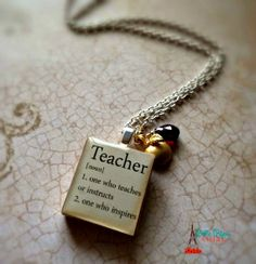 Teacher Golden Apple  Sterling Silver by Bellebijouatelier on Etsy, $20.00