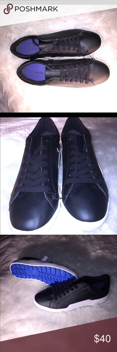 NWT ! Zara Black Lace Up Leather Sneakers / Shoes Black Zara sneakers in size 10 (women's). Trendsetting, comfortable, stylish, sleek and BRAND NEW WITH TAGS. Superb for a polished look. These sneakers are black and white with blue bottom. Excellent look and definitely EYE CATCHING. 🔥👏🔥Bundle and save! 🔥👏🔥 Zara Shoes Sneakers