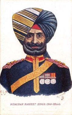 INDIA ETHNIC SIKH ARMY OFFICER RISALDAR RANJEET SINGH TUCK ART PRINTED CARD in Collectables, Postcards, Topographical: Rest of World | eBay
