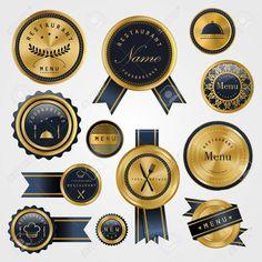 collection of premium restaurant golden labels design set , Design Set, Label Design, Presentation Design Template, Restaurant, Templates, Collection, Models, Stenciling, Diner Restaurant
