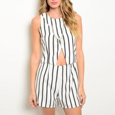 Striped Romper Get back to business with this striped romper featuring a round neckline and waist cutout. Available sizes S-M-L, 100% polyester. Note: No brand, tagged Zara for exposure  DO NOT PURCHASE THIS LISTING, I will make separate one for you ❗️ Zara Dresses
