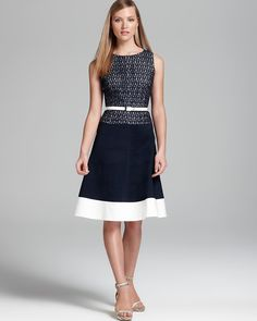 Anne Klein Belted Dress - Sleeveless Lace Bodice | Bloomingdales