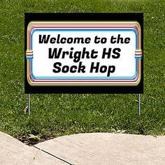 Show where your sock hop is with our 50s Marquee Personalized Yard Sign.