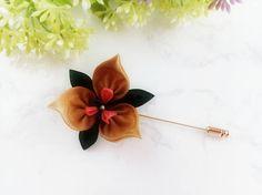Gold Toned Iris Flower Stick Pin Scarf Pin Hat Pin Lapel