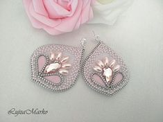 Pink&white softly zipper earrings