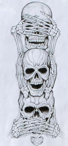 See No Evil, Hear No Evil, Speak No Evil Tattoo, really cool idea. #chopperexchange #bikertattoo #skull