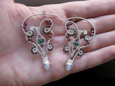 Sterling silver wire wrapped earrings garnets onyx by kattaca, $52.00