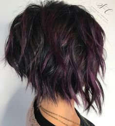 60 Short Shag Hairstyles That You Simply Can't Miss Black Shaggy Bob With Purple Balayage Short Choppy Haircuts, Short Shag Hairstyles, Hairstyles 2018, Short Shaggy Bob, Black Hairstyles, Choppy Short Hair Cuts, Textured Hairstyles, Choppy Layers, Inverted Bob Hairstyles