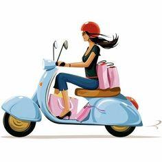 by Gary Newman Vespa Girl, Scooter Girl, Stickers Moto, Vespa Illustration, Logo Online Shop, My Little Paris, Retro, Fashion Sketches, Fashion Drawings