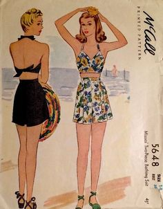 Vintage 1940s McCall 4648 swim suit sun bathing beachwear halter neck bra shorts pattern