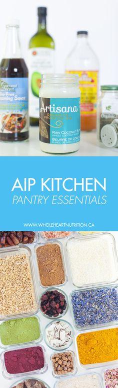 A nutritionist's kitchen pantry essentials for the Autoimmune Protocol (AIP). #aip #paleo #autoimmuneprotocol #pantry