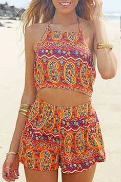 Halter Backless Crop Top and Printed Shorts Suit