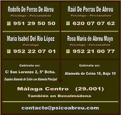 PsicoAbreu. Gabinetes de Psicología y Psicoanálisis en Málaga Centro. Fotos del Gabinete de C/ San Lorenzo 2, 5º Derecha. 29001 Málaga. Telf: 951 29 50 50 www.psicoabreu.com