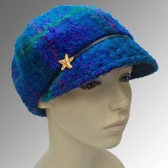 Plaid Mohair Blue Purple Teal Equestrian Cap Cloche Leather Trim CUSTOM MADE 1f486c422618