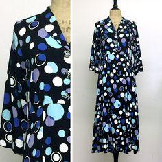 Vintage Dress - 3/4 Sleeve - Tea Length - Bubbly - French Rayon Crepe