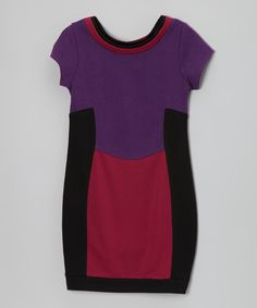 Loving this Purple & Red Color Block Dress on #zulily! #zulilyfinds