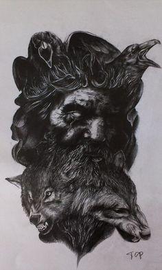 Odin Rune Tattoo, Norse Tattoo, Viking Tattoos, God Tattoos, Body Art Tattoos, Sleeve Tattoos, Rune Viking, Viking Art, Tattoo Sketches